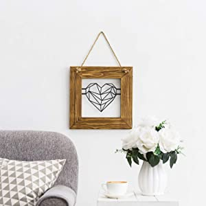 MyGift 12-inch Metal Geometric Heart Decorative Wall Art with Rustic Burnt Brown Wood Frame and Hanging Rope