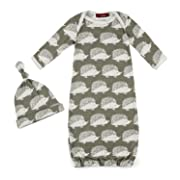 MilkBarn Organic Cotton Gown & Hat Set - Grey Hedgehog - 0-3 Months