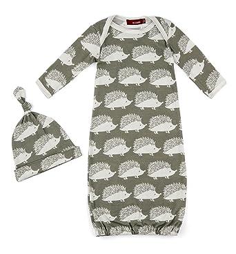d5cc0a9fe465 Amazon.com: MilkBarn Organic Cotton Gown & Hat Set - Grey Hedgehog ...