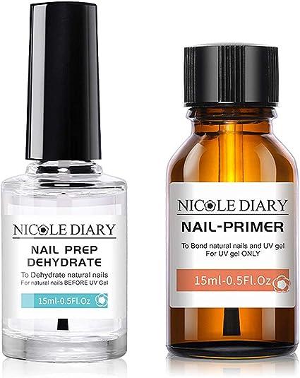 NICOLE DIARY Imprimación de deshidratado y adhesivo de preparación de uñas natural profesional, enlace de proteína de uñas, imprimación de unión ...