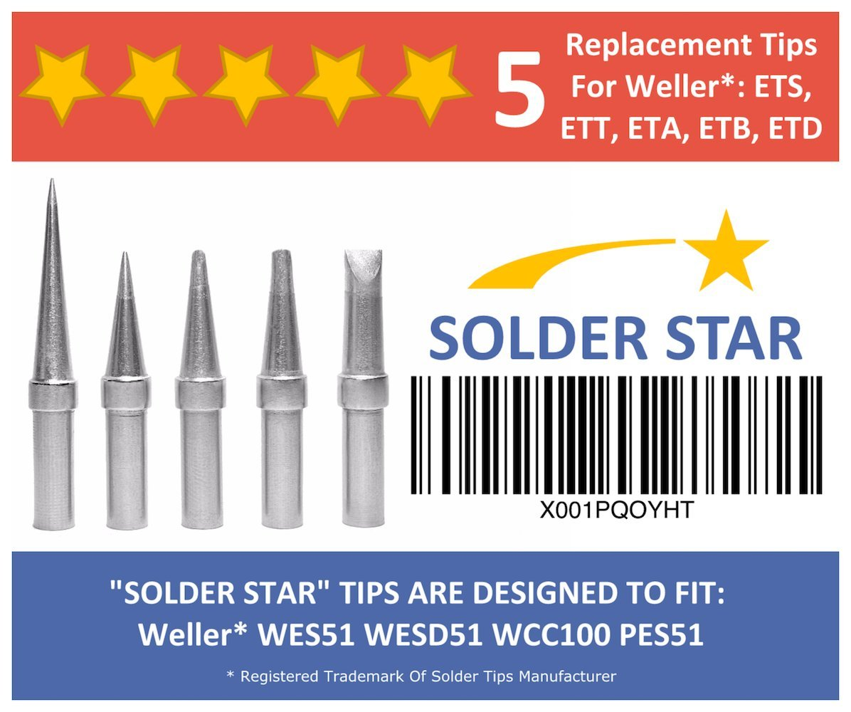 Best Weller ET Solder Tips Replacement Set - 5 Extra Long Life Soldering Iron Tips (ETA ETT ETB ETS ETD) - For WES51 WESD51 WCC100 PES51 WE1010NA EC1201A EC2000
