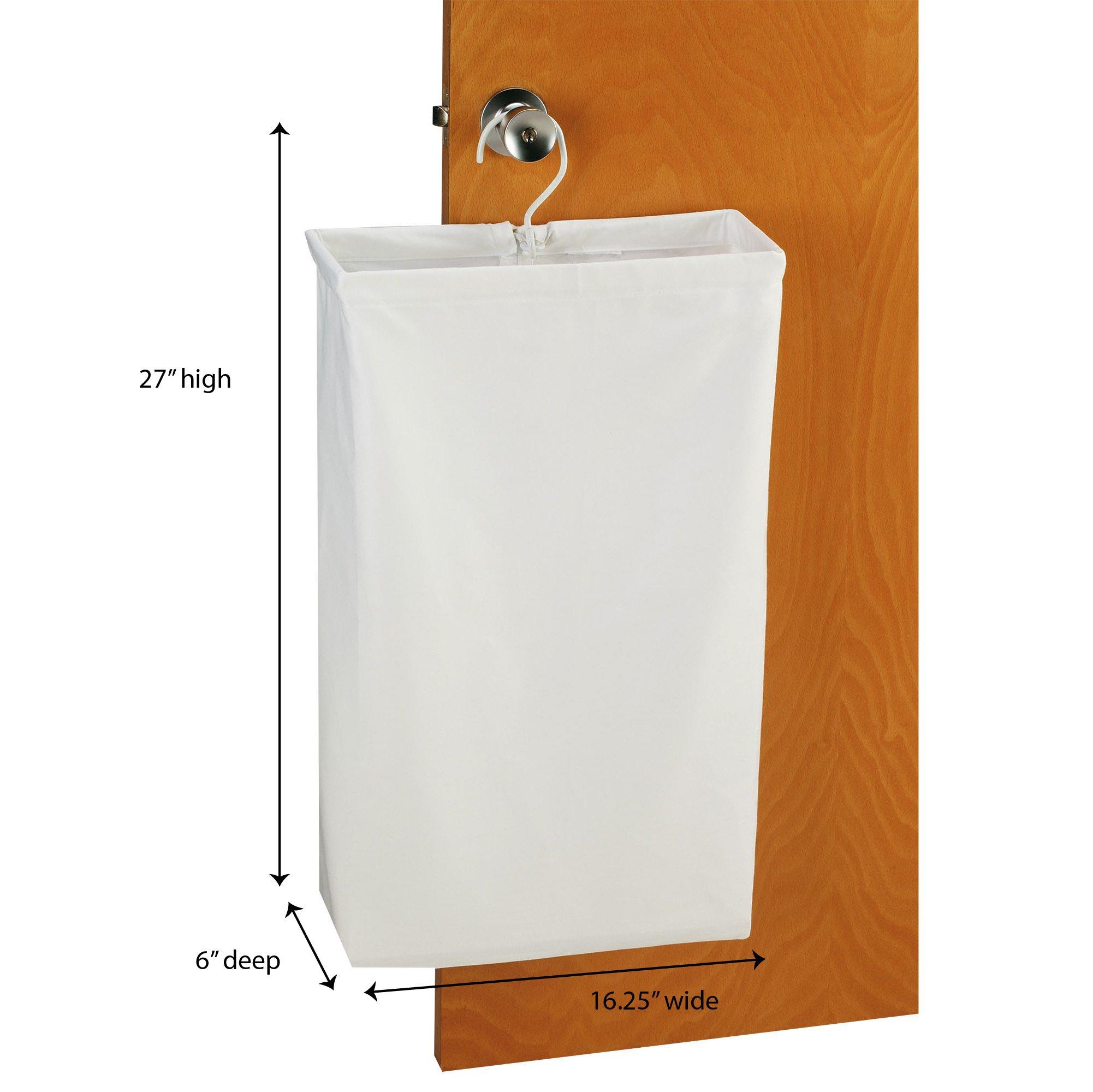 Household Essentials 148 Hanging Cotton Canvas Laundry Hamper Bag | White by Household Essentials (Image #1)