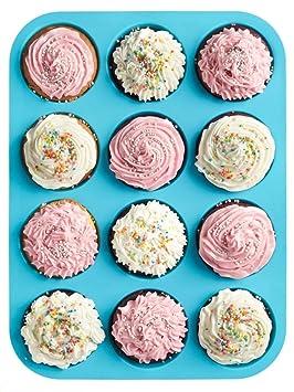 HelpCuisine Moldes de Moldes para muffin/Bandeja para cupcakes de color azul con 12 cavidades, 24 meses de garantía!: Amazon.es: Hogar