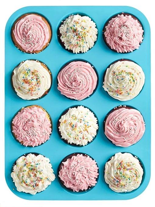 HelpCuisine Moldes de Moldes para muffin/Bandeja para cupcakes de color azul con 12 cavidades