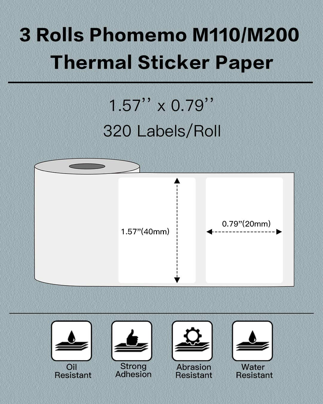 320 Labels//Roll 40x20mm Black on White - Multi-Purpose Square Self-Adhesive Label Phomemo 3 Rolls M110//M200 Thermal Paper 1.57 x 0.79