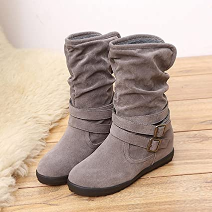 aa586fc3af HOT Sale ,AIMTOPPY Ladies Womens Low Wedge Buckle Biker Ankle Trim Flat  Ankle Boots Shoes (US:7.5, Gray)