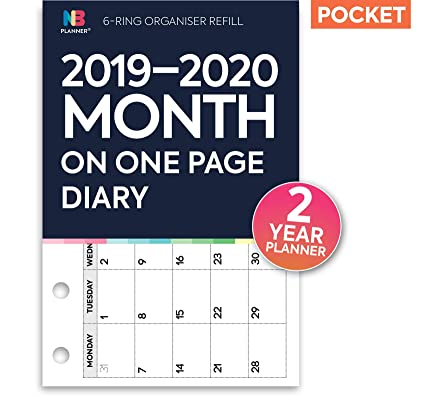 NBplanner® 2019-2020 - Agenda de 2 años (compatible con Filofax), color blanco Pocket: 81 x 121 mm