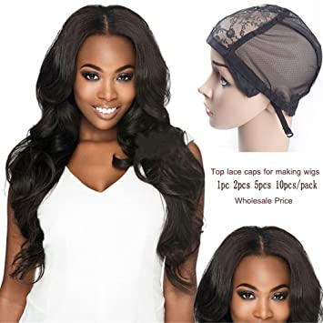 Fashion Style 1 Pcs Double Lace Wig Caps For Making Wigs And Hair Weaving Stretch Adjustable Wig Cap Hot Black Dome Cap For Wig Hair Net Hairnets