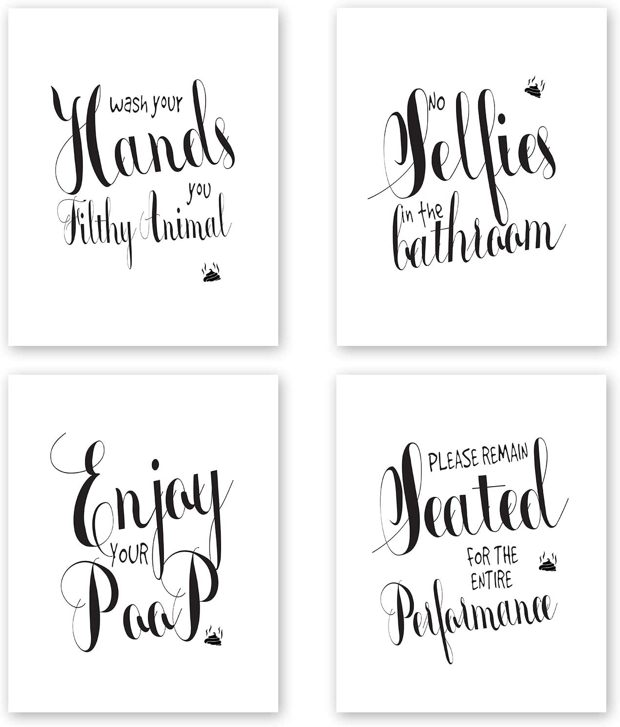 Nuah Prints Funny Bathroom Wall Decor Prints, Set of 4 Toilet Quotes and Sayings Art Signs, Unframed Bath Decor Prints, 8x10 inches (Set #1)