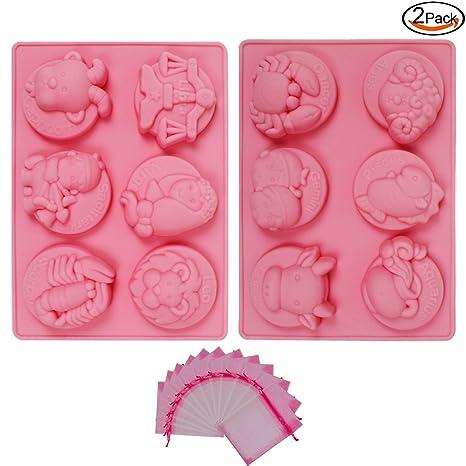 Whonline 2 moldes de silicona de 12 constelaciones para jabón pastel helado y 12 sacos terreros