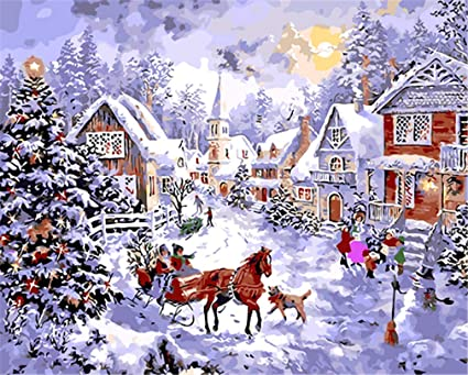 Acrylic Christmas Tree Painting.Yeesam Art Diy Paint By Numbers For Adults Beginner Kids Christmas Tree Forest Snow Town Playing Kids 16x20 Inch Linen Canvas Acrylic Stress Less