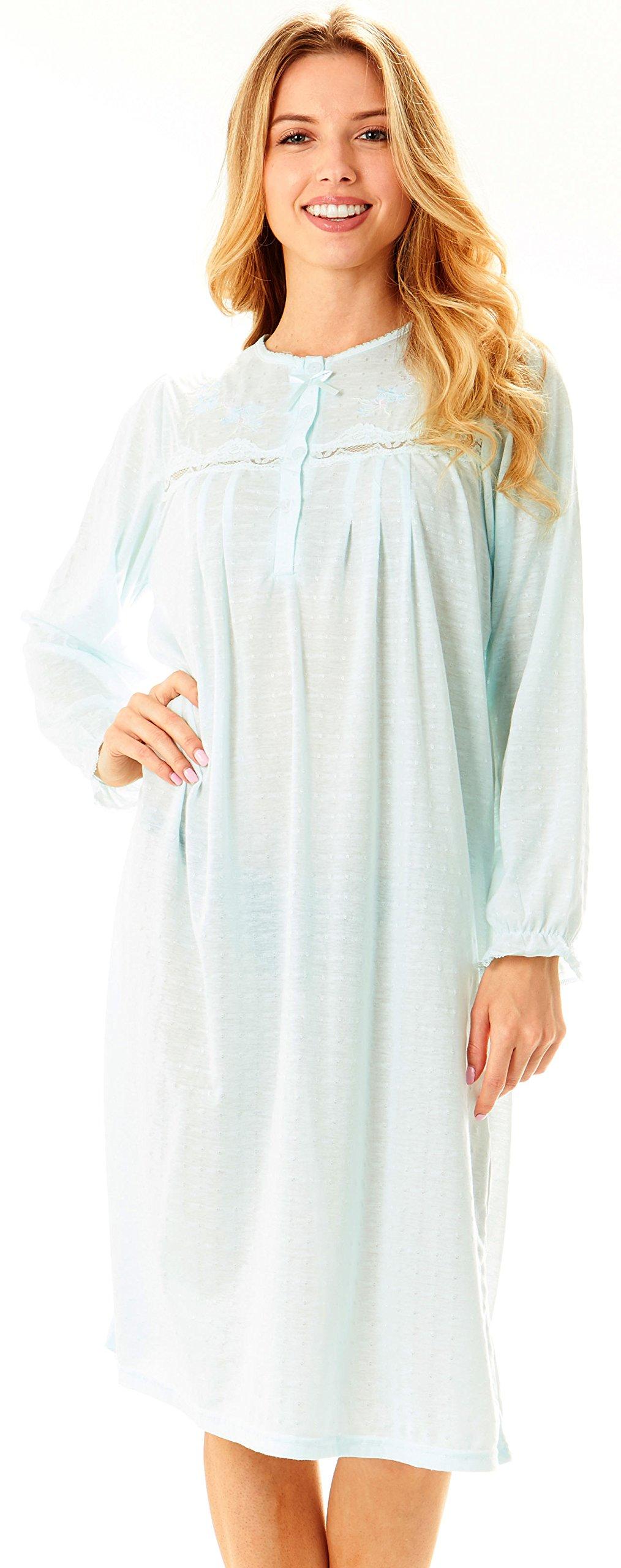 Women Long Sleeve Cotton Night Gown/Sleepwear/Sleep Dress/Nightshirt ...