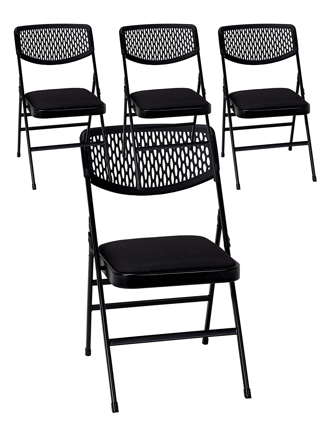 Cosco Commercial Fabric Padded Seat Folding Chair with Resin Mesh Back, Black, 4-Pack