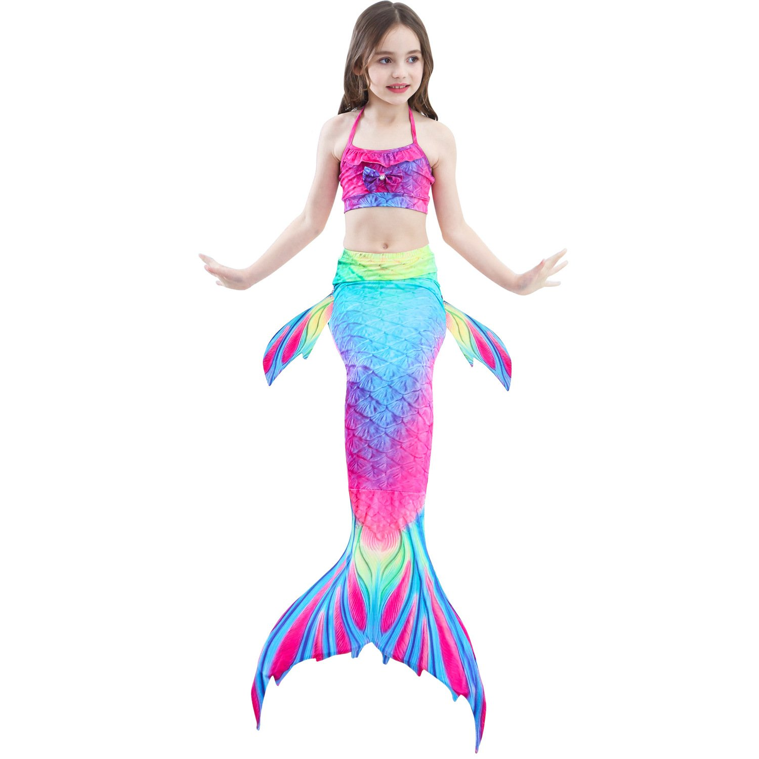 SAOMAI 3PCS Girls' Swimsuit Mermaid Tail for Swimming Tropical Bikini Halloween Masquerade Pool Party (A, 130CM)