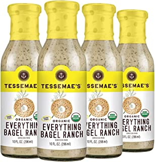 product image for Tessemae's Organic Everything Bagel Ranch Dressing, Whole30 Certified, Keto Friendly, USDA Organic, 10 oz. bottles (4-Pack)