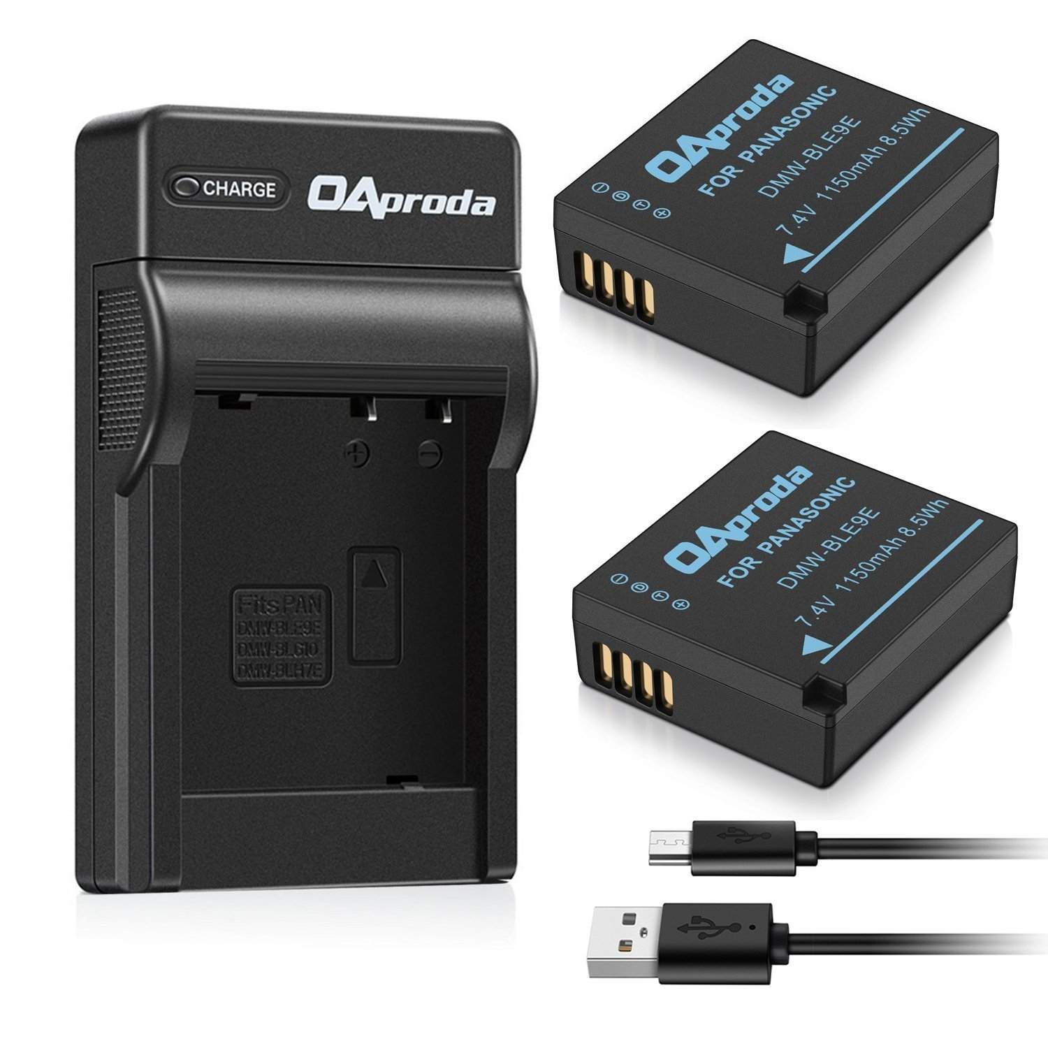 OAproda 2 Pack Battery and USB Charger for Panasonic DMW-BLE9, DMW-BLG10 and Lumix DMC-GF3, DMC-GF5, DMC-GF6, DMC-GX7, DMC-LX100, DMC-GX9, DMC-GX85, DMC-GX80, DMC-ZS200, DMC-ZS100, ZS70, ZS60