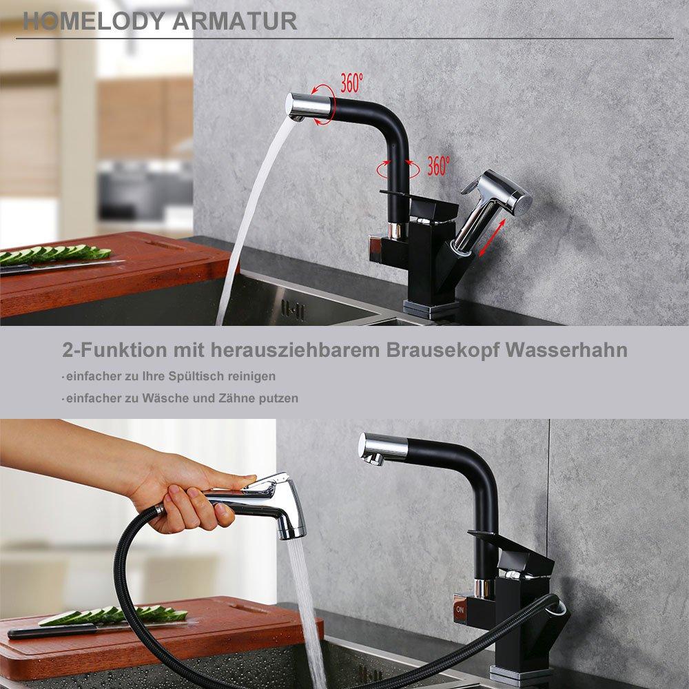 Homelody Schwarz 360° drehbar Wasserhahn Küche Armatur 2 Funktion ...