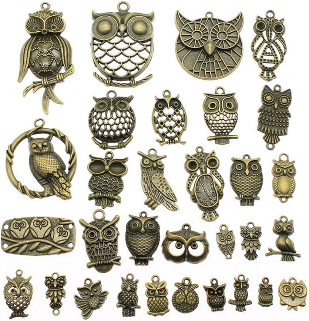 accesorios de bricolaje para hacer joyas Colgante de b/úho de bronce envejecido 100 g