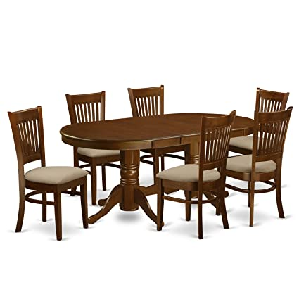 7 piece dining table small east west furniture vanc7espc 7piece dining table set amazoncom