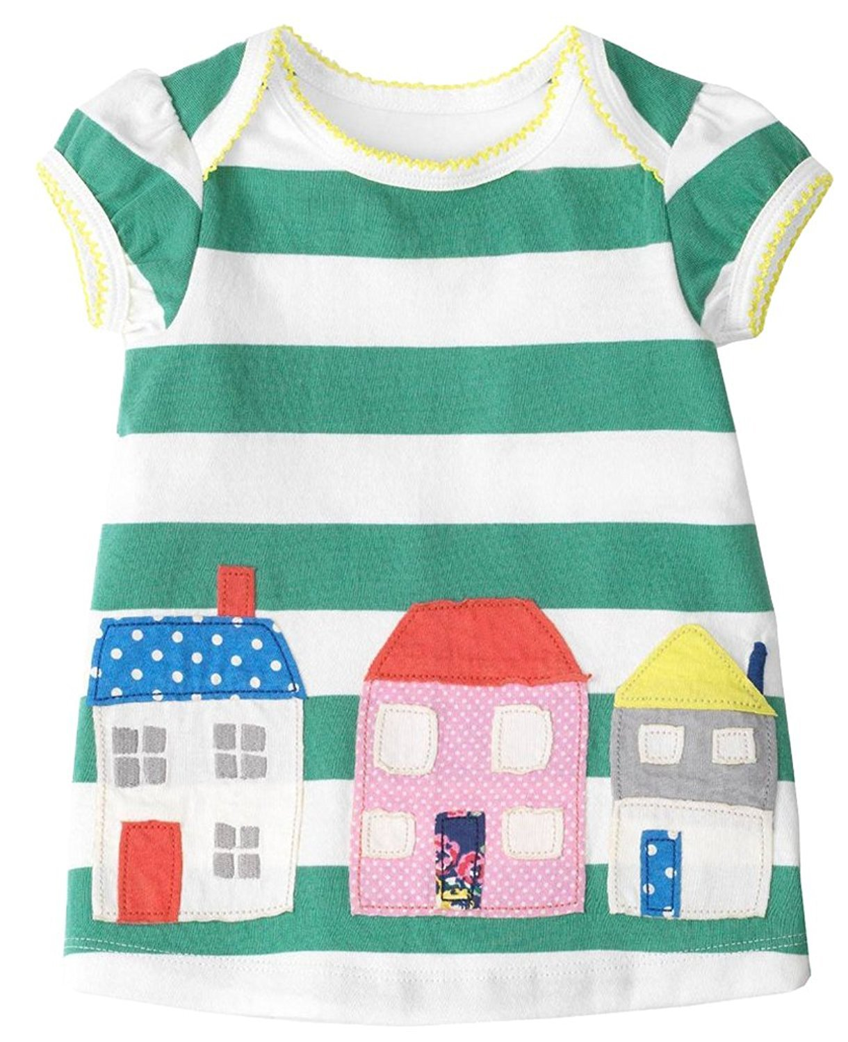 Fiream Grils Cotton Striped Dresses Shortsleeve Animal Appliques T-Shirt Casual Dresses 2-7T(House,3T/3-4YRS)
