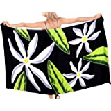 Short Black Swimsuit Sarong Cover up in Crinkle Cotton