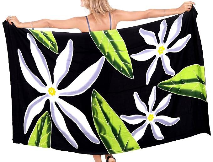 "a947172752 LA LEELA Rayon Wrap Pareo Suit Women Beach Sarong Printed 78""X43""  Black_4569"