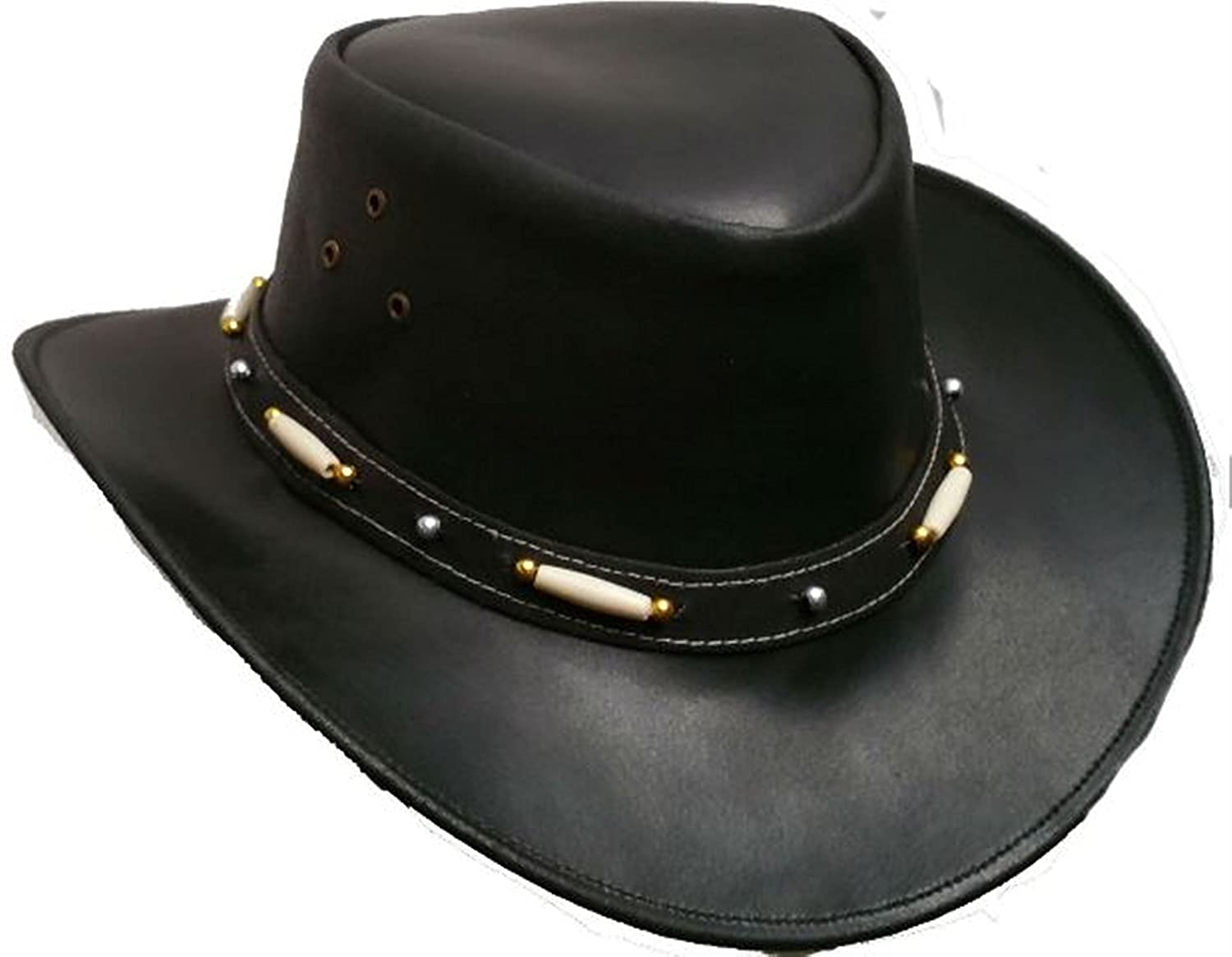 Australian Style Leather Western Hat Cowboy Hat With Bone, Brown, Medium