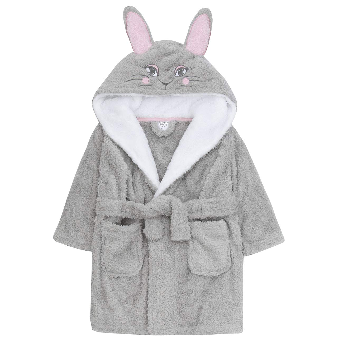 Kids Fluffy Unicorn Hood And Tail Fleece Dressing Gown White