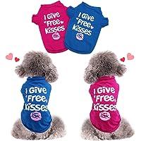 HYLYUN - Camisa para perro de San Valentín, 2 paquetes, suave, transpirable, para cachorros, ropa para perros pequeños y…