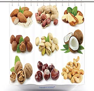 Hand Painted Fruit Almond Nuts Waterproof Fabric Shower Curtain Bathroom 71 Inch