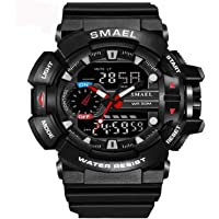 Smael Analogue Digtal Dual Quartz Movement Military Design Water Resistant Sports Men's Watch -1436