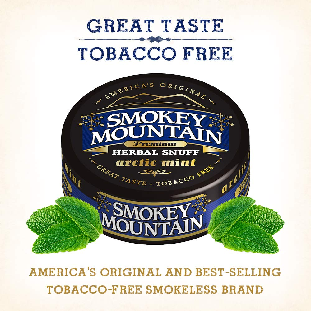 Smokey Mountain Herbal Snuff - Arctic Mint - 10-Can Box - Nicotine-Free and  Tobacco-Free - Herbal
