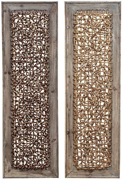 Deco 79 Wood Portable Wall D cor, 2 Assorted