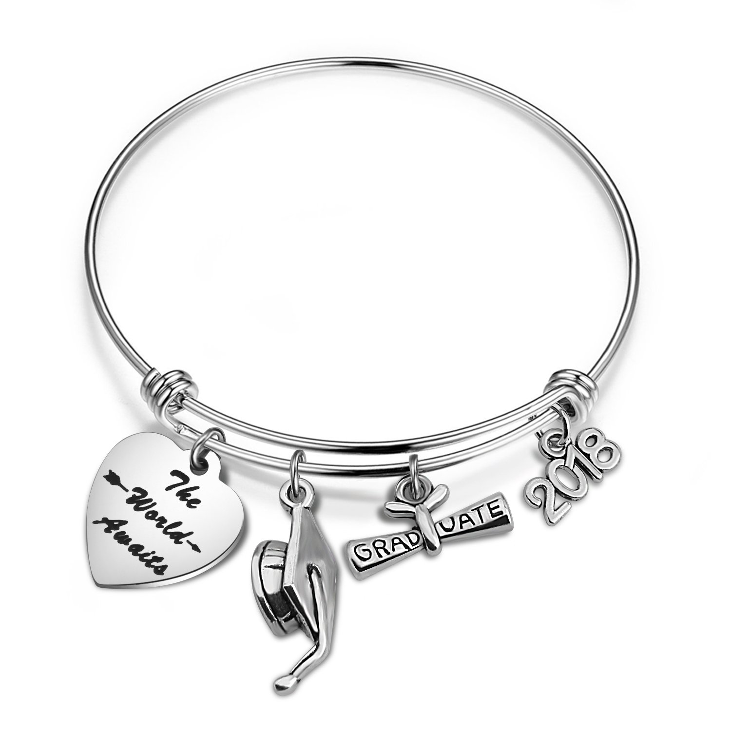 bobauna Graduation Gift The World Awaits Bracelet with Grad Cap Diploma 2018 Charms Gift for Class of 2018 Graduate