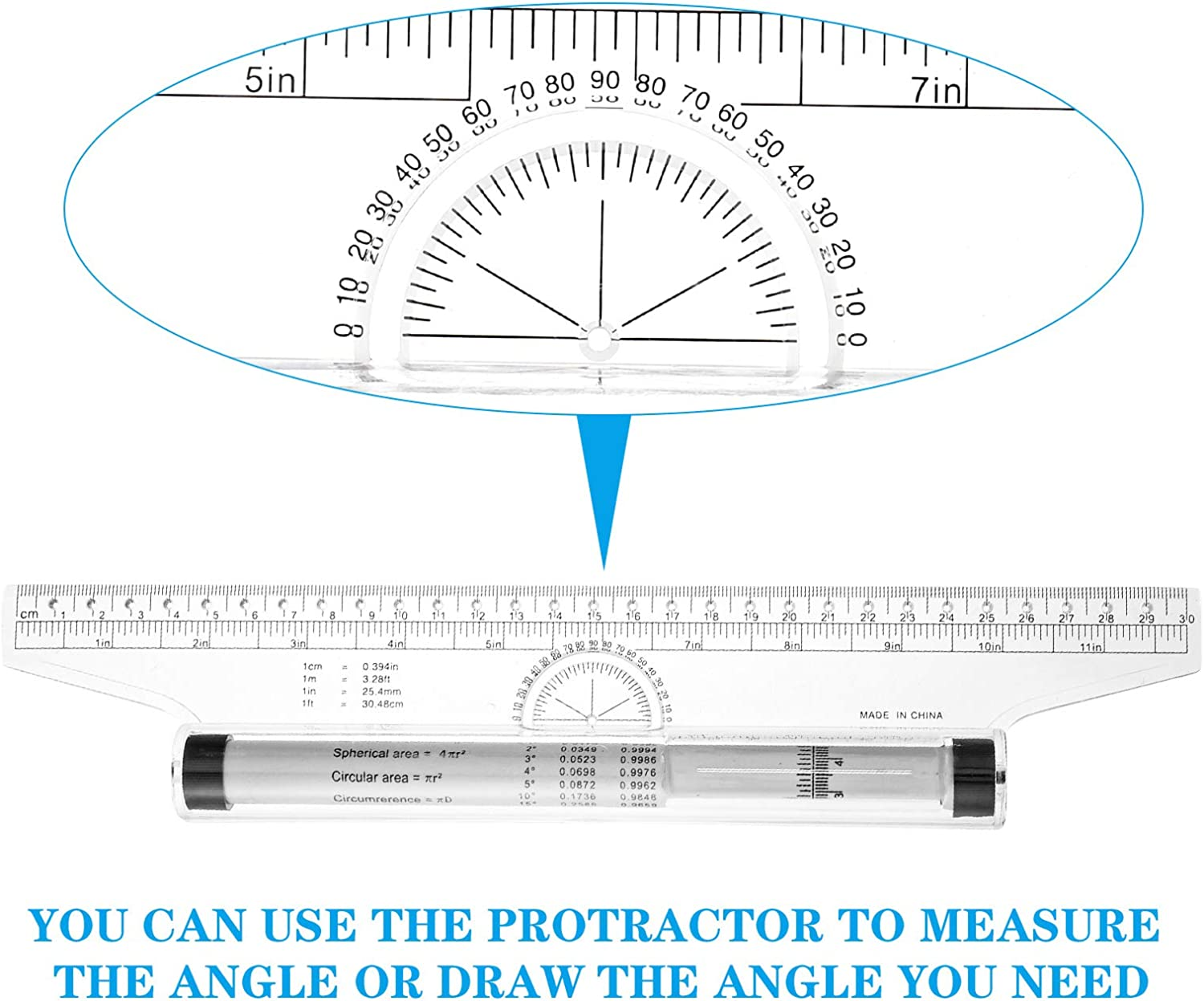 Parallel Ruler for Measuring Drawing Roller Ruler Drafting 2 Pieces Multifunctional Measuring Rolling Ruler School and Office Student 12 Inches