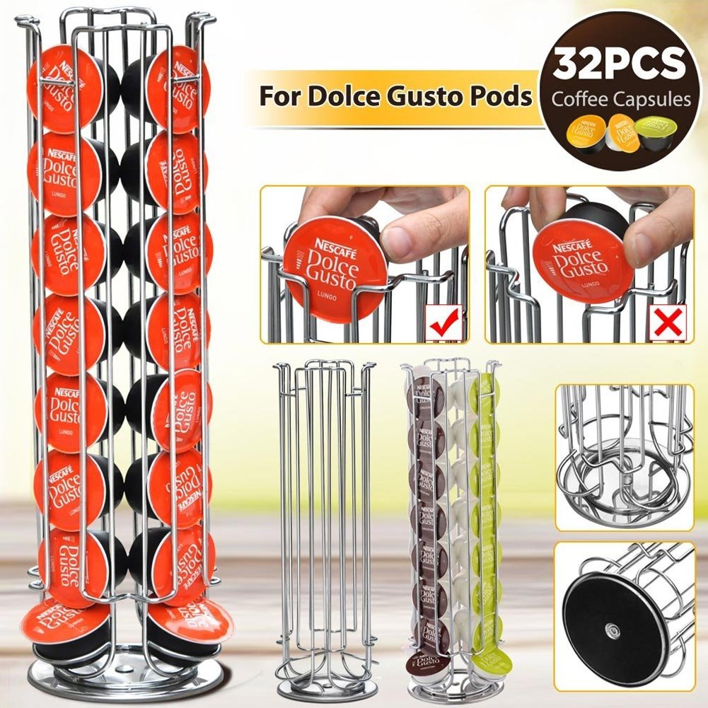 Bakaji Stand Porta Capsule Caffè Dolce Gusto 32 Posti Base Rotante Girevole 360° Inserimento Verticale In Metallo Silver