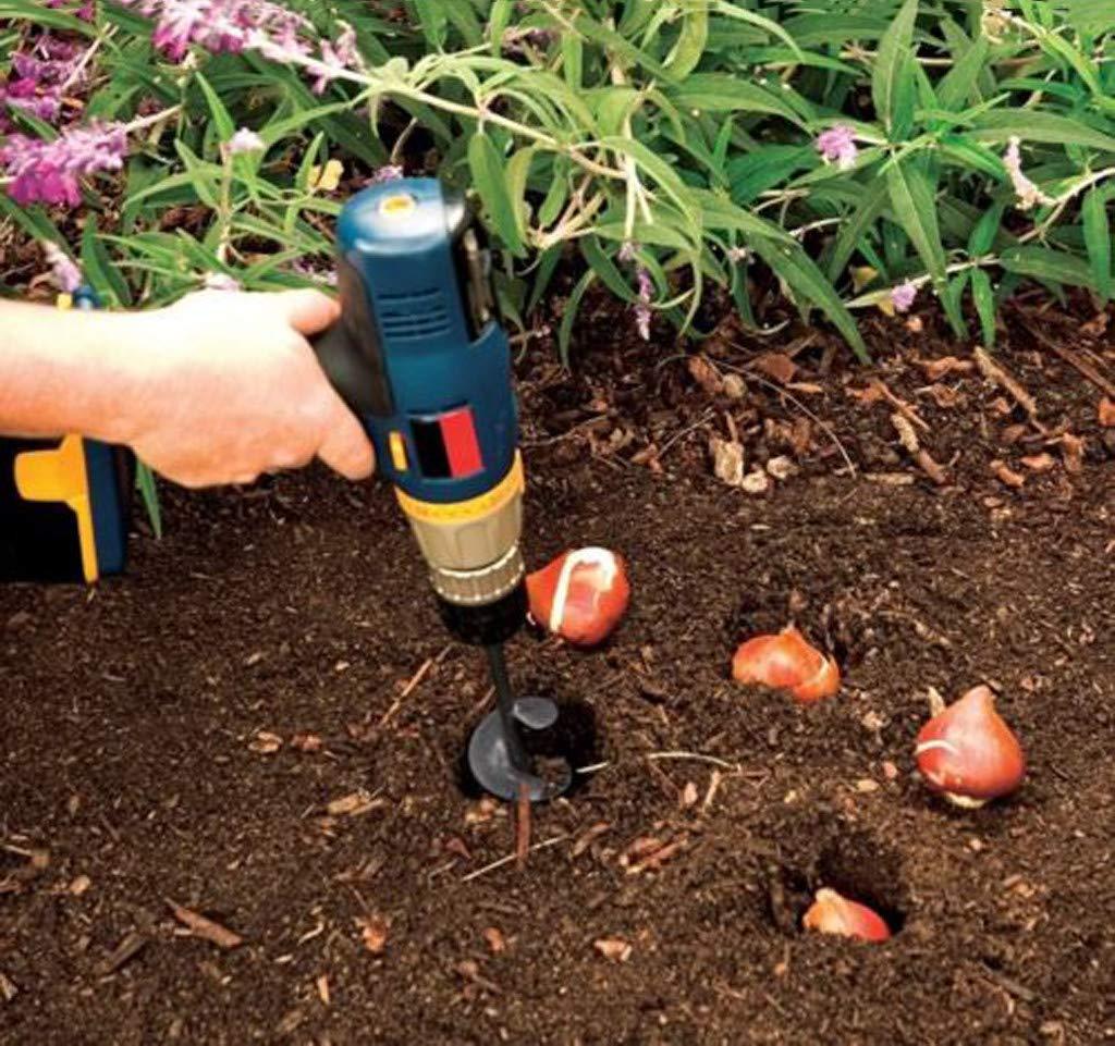 Tari/ère de Jardinage,LHWY New Planteur Trou de la jardini/ère Excavateur Attachement de Foret,Jardinage Spirale Percer T/ête 2PCS//Noir-46 * 370 mm
