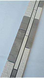 Mosaik Bordre Marmor Naturstein Fliesen Yawood Grau Beige Creme Wei Bad B.