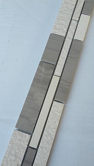 Mosaik Bordüre Marmor Naturstein Fliesen Yawood Grau Beige Creme Weiß Bad  B038