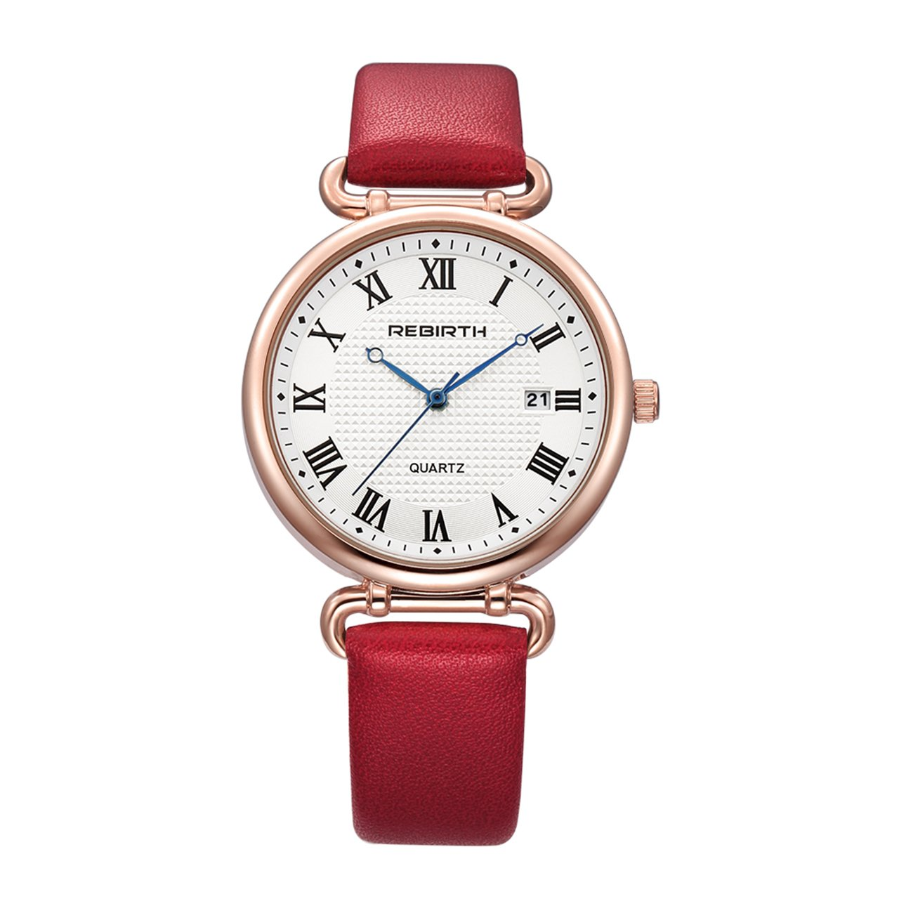Top Plaza Women Elegant Simple Rose Gold Tone Bracelet Watch Japanese Movement Roman Numerals PU Leather Waterproof Analog Quartz Watch(Red)