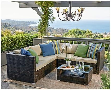 Amazon Com The Hom Kessler 4 Piece Outdoor Wicker Sectional Sofa