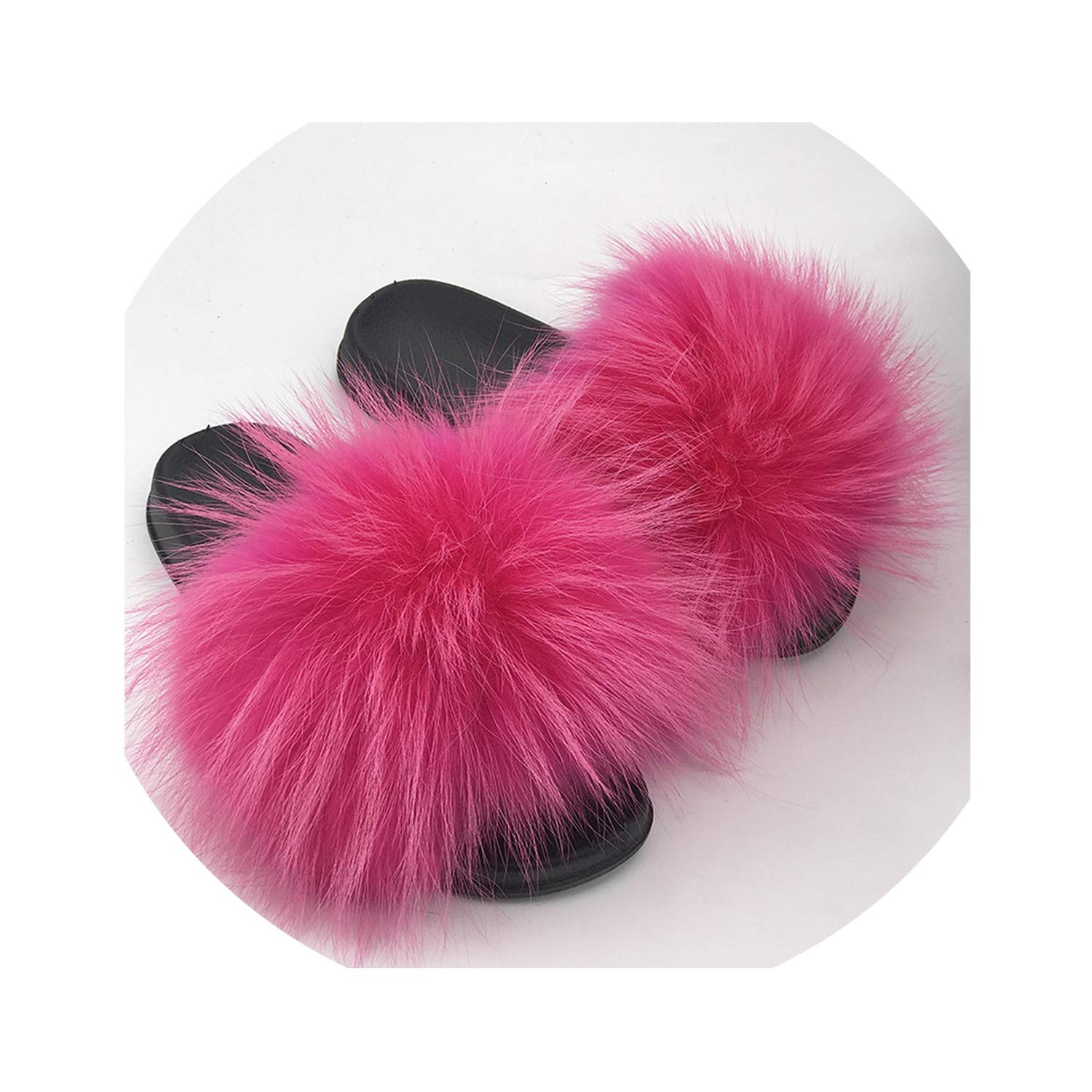 28 Colors Real Fur Slippers Women Fox Fluffy Sliders Comfort with Feathers Furry Summer Flats Sweet Ladies Shoes Plus Size 36-45,8,61