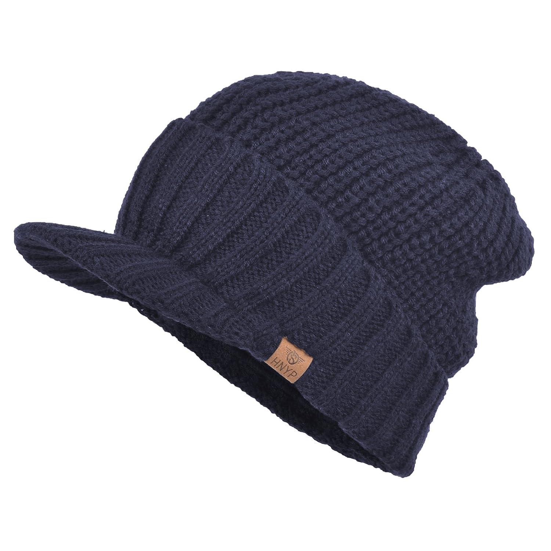 bf6b417adee Janey Rubbins Men s Stylish Knit Visor Brim Beanie Hats Fleece Lined Skull  Ski Caps