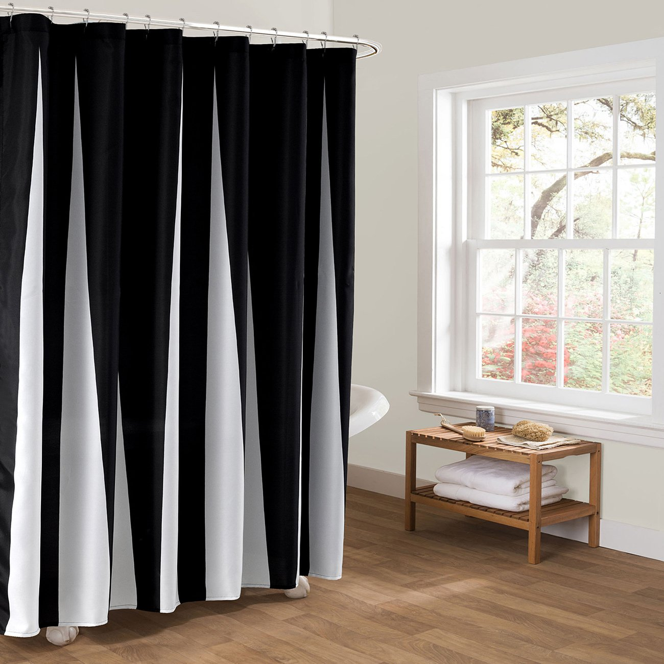 KINDOBEST Black and White Piano Keyboard Pattern Shower Curtains for Bathroom Waterproof