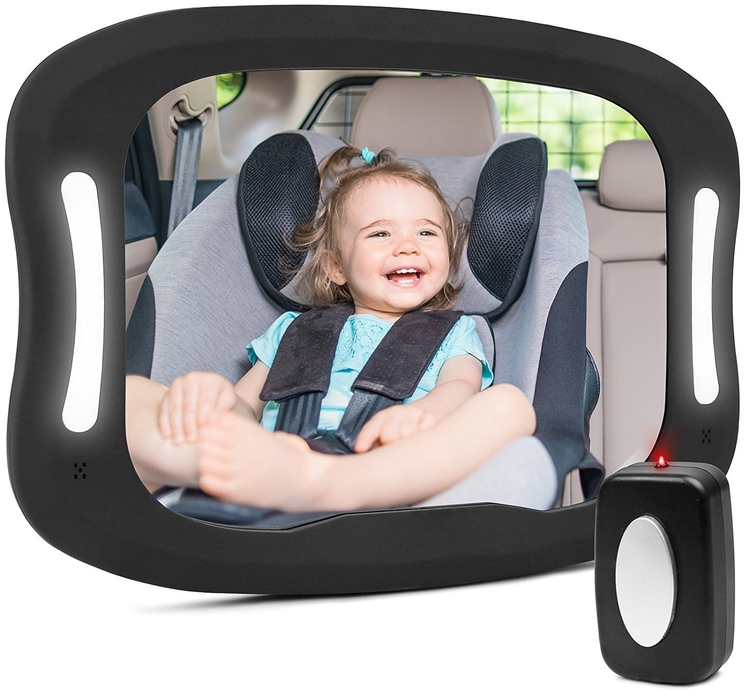 Baby Car Mirror for Back Seat Shatter-proof LED Baby Mirror for Car View Infant in Rear Facing Car Seat Wide Convex Mirror Easily to Observe the Baby's Every Move Safety and 360 Degree Adjustability LTD