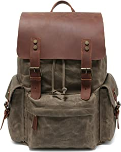 Military style 2020 new made waxed canvas backpack15.6 Inch Laptop Genuine leather(Oil wax waterproof)school Bag vintage computer Backpack for Men&women,professional Outdoor hiking travel(Army green)
