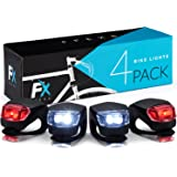 Bike Lights Front and Back - Bike Lights Set of Four - Bright Bicycle Lights Front Rear with Waterproof Silicone Housing - Compact & Easy to Install Cycling Lights for Mountain Roads and Night Cycling