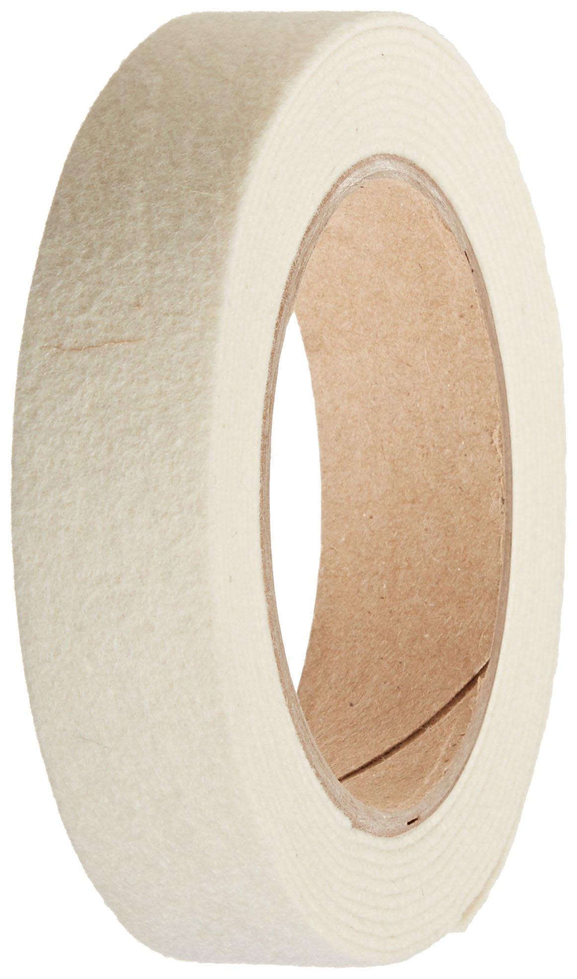 Grade F50 Pressed Wool Felt Strip, White, Meets SAE J314, 1/16'' Thickness, 1'' Width, 25' Length