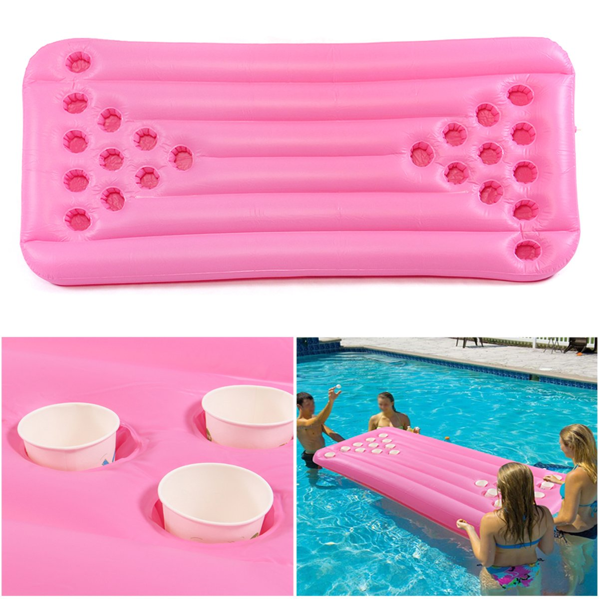 Water Sports 180x80x15CM 22 Holes WD Inflatable Float Beer Game Table Swimming Pool Water Play Party WD-007-268