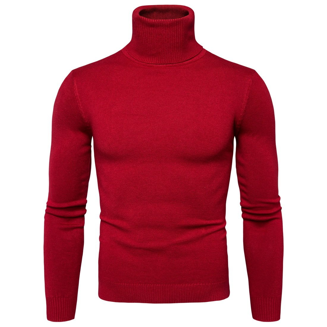 CCZZ Men's Turtleneck Roll Neck Knitted Jumper Warm Slim Fit Sweater